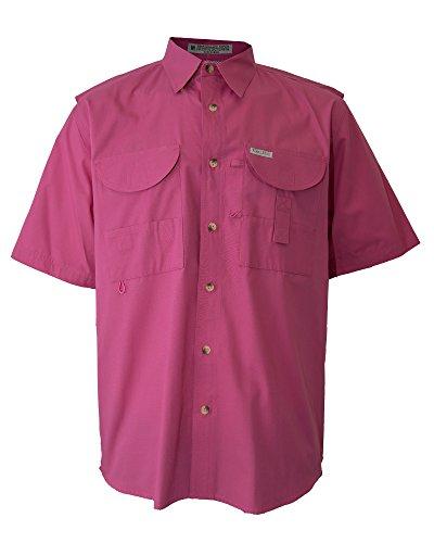 Tiger Hill Men's Fishing Shirt Short Sleeves Pink 5XL
