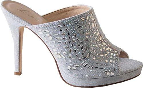Sandalo Scorrevole Lauren Lorraine Da Donna Mimi Impreziosito, Tessuto Argento, Us 5,5 M