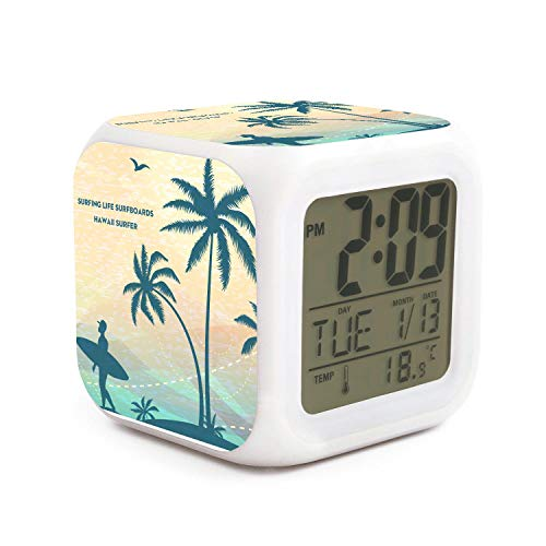 - HOTMN Surfing Life Surfboards Hawaii Surfer Style Funny Multifunction Digital Desk Alarm Clock with LED Touch Light Desk Watch Table Clock