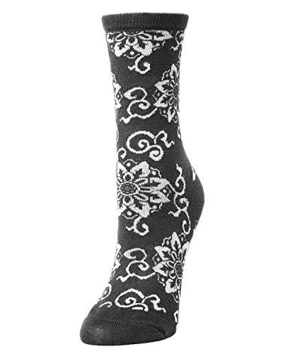 Natori Medallion Wool Blend Crew Socks Charcoal One Size 9-11