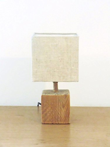 Lampe Carree Bois Flotte Abat Jour Lin Lampe Cube Bord De Mer Handmade Idee Cadeau Hygge Scandinave Cocconing Anniversaire