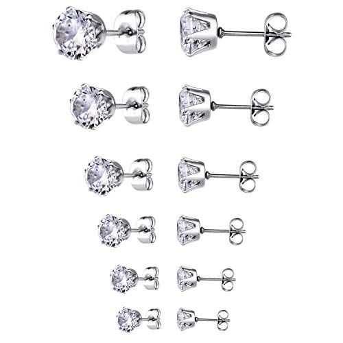 Zealmer Crystal Stud Earrings Stainless Steel Round Clear Zircon Ear Studs Set 6 Pairs for Women Girls (Created Stainless Steel Ring Amethyst)