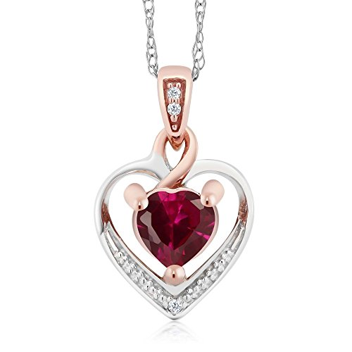 2 Tone Diamond Heart - Gem Stone King 10K 2-Tone Gold Created Red Ruby and White Diamond Heart Shape Pendant Necklace With 18inches Chain