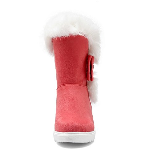 Frosted Platform Bowknot Red Boots 1TO9 Ornament Ladies Fur Spun Gold yoMZTK6