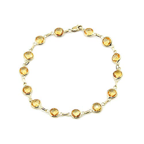 14k Yellow Gold Handmade Bracelet with Round 6mm Citrine Gemstones