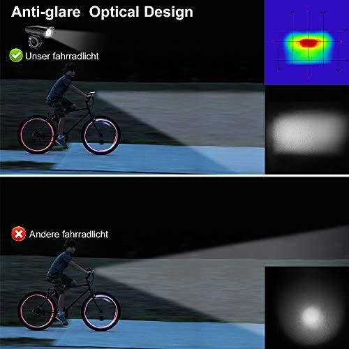 Antimi Fahrradlicht Set Wiederaufladbare, LED Fahrradlichter Fahrradlampe Set Vorne Fahrradbeleuchtung Wasserdicht mit Frontlicht Rücklicht StVZO