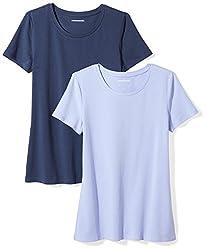 Amazon Essentials Women S 2 Pack Short Sleeve Crewneck T Shirt Purple Navy Xx Large