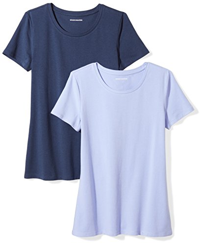 Amazon Essentials Women's 2-Pack Short-Sleeve Crewneck Solid T-Shirt, Purple/Navy, X-Large