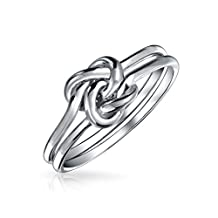 Bling Jewelry Double Band Love Knot Infinity Ring Rhodium Plated Silver