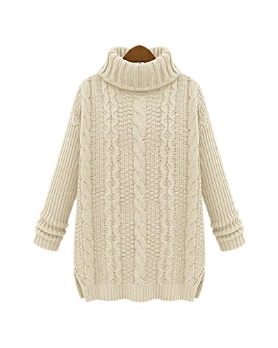 on Cable Knit Turtleneck Long Sleeve Pullovers Sweaters Top (M, #2 White) (Knit Wool Blend Sweater)