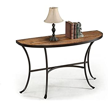 Charming Emerald Home Rustic Wood Sofa Table With Half Oval Top And Metal Base