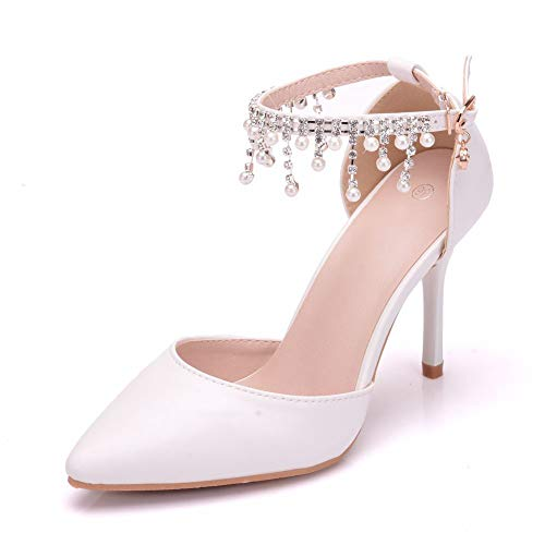 Melesh Simple Princess Sandals for Women Sweet White Pearl Wedding Bridal High Heels (10 M US-EU42) ()