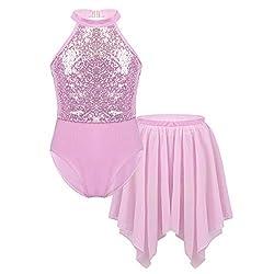 Halter Shiny Pink Sequins Leotard with Irregular Hem Skirts Set