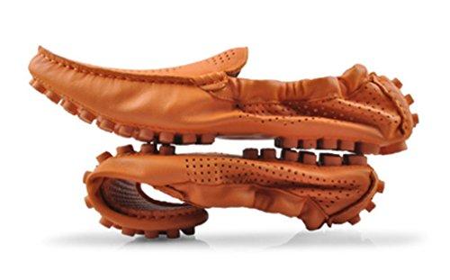 Crc Frt18716 Heren Populaire Britse Stijl Ademende Ronde Neus Slip Op Leer Lopen Training Rijden Loafers Doug Schoenen Oranje