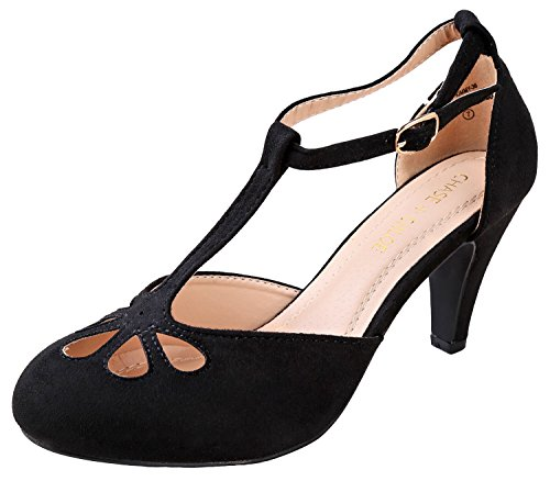 Chase & Chloe Kimmy-36 Women's Teardrop Cut Out T-Strap Mid Heel Dress Pumps (5.5 B(M) US, Black Nubuck)