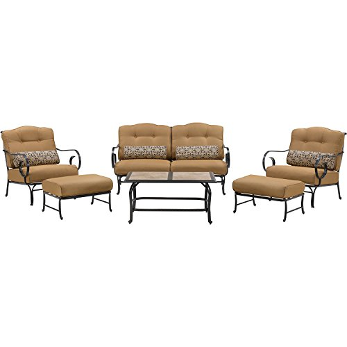 Iron Patio Furniture (Oceana 6-Piece Patio Set in Country Cork with a Tile-top Coffee Table)