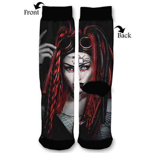 Primede Halloween Cyber Goth Girl - Gothic Quarter Dress Mid Calf Knee Crew Socks Calf Knit Hosiery Female Ladies Women Girl Teen Kid Youth Themed Clothing Party Clothes Dresses Apparel Ankle