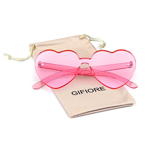 Heart Shape Rimless Sunglasses One Piece Transparent Candy Color Eyewear -