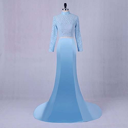 Blue Two Piece Lace and Satin Dance Prom Dresses with Long Sleeves by DINGZAN