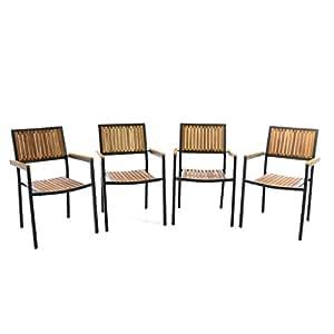 Juego de 4Silla de jardín silla apilable madera silla Terraza silla con reposabrazos–Madera dura aluminio–85x 55x 52cm–Fácil resistente apilable–B-Ware gris