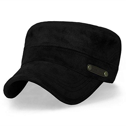 ililily Women Solid Color Military Army Hat Velour Flex Fit Cadet Cap, Black