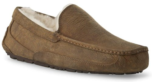 UGG Australia Mens Ascot Leather Slippers Chestnut Size 9 (Slipper Ascot)