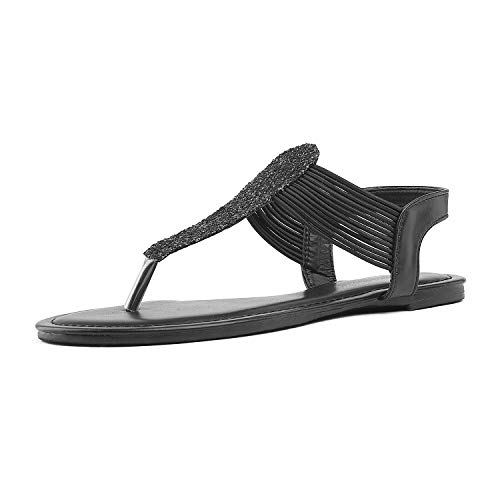 DREAM PAIRS SPPARKLY Women's Elastic Strappy String Thong Ankle Strap Summer Gladiator Sandals Black Size 11