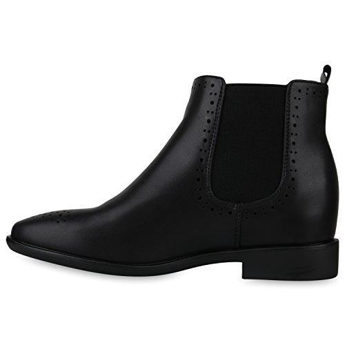 Stiefelparadies Damen Stiefeletten Chelsea Boots mit Blockabsatz Holzoptikabsatz Flandell Schwarz Berkley