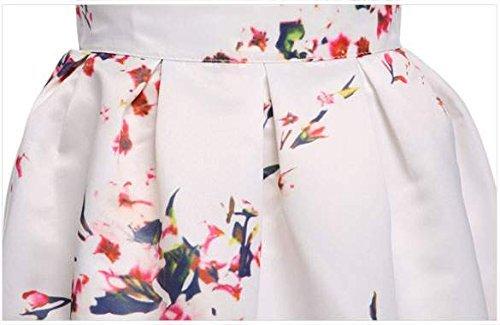 Minetom Femmes été Fleur Jupe au Genou Jupe Soirée évasée Mini jupe