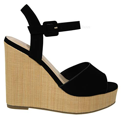 6ea2d5ef8f2 MVE Shoes Women's Comfortable Open Toe Adjustable Ankle Strap Platform  Sandal, Baxter Black NBPU 8.5