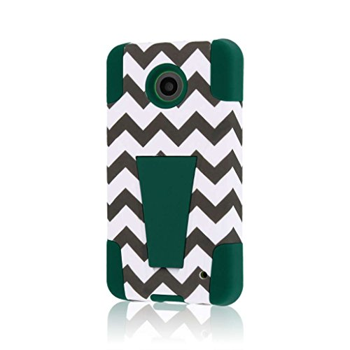 , MPERO IMPACT X Series Dual Layered Tough Durable Shock Absorbing Silicone Polycarbonate Hybrid Kickstand Case for Lumia 635 [Perfect Fit & Precise Port Cut Outs] - Teal Chevron (Compatible with standard back plate, NOT colored shells) ()