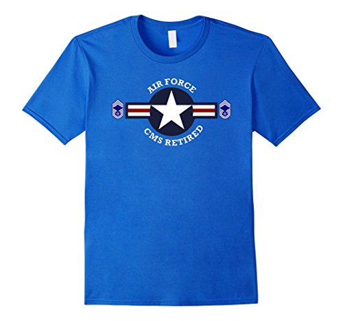 Mens AIR FORCE CHIEF MASTER SERGEANT RETIRED T-SHIRT XL Royal (Blue Master Chief)