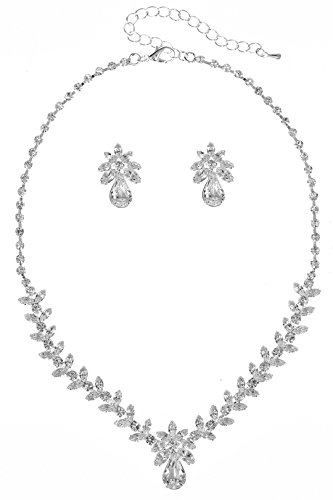 - SAMKY Gorgeous Olive Vine Design Rhinestone Crystal Necklace Earrings Set N358