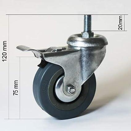 Roulette pivotante 75 mm avec vis filet/ée M10x20mm jeu de roulettes pour meubles 2x avec et 2x sans frein