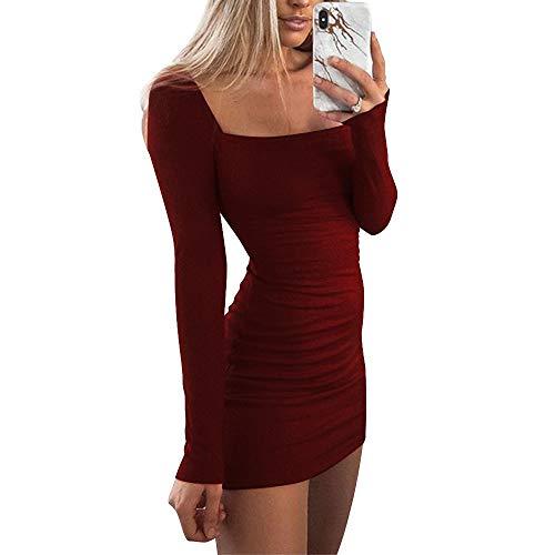 Women's Sexy Casual Bodycon Long Sleeve Mini Club Dress Rib Sweater Dress XL