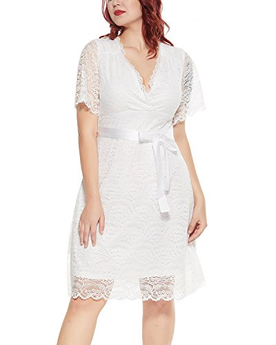 Women's Plus Size Lace V Neck Short Sleeve Empire Waist A-line Bridal Wedding Dress White 16W ()