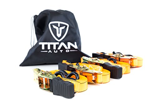Ratcheting Tie Down Straps | Premium Load Straps with Plastic-Coated S Hooks for Cargo, Gear, Bikes & More | Bonus Storage Bag Included | Titan Auto 800 LB Working Load - How Plastic Of A Get Out To Scratch