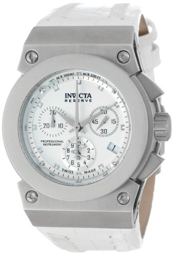 Invicta Women's 5564 Reserve Collection Akula Chronograph White Leather Watch