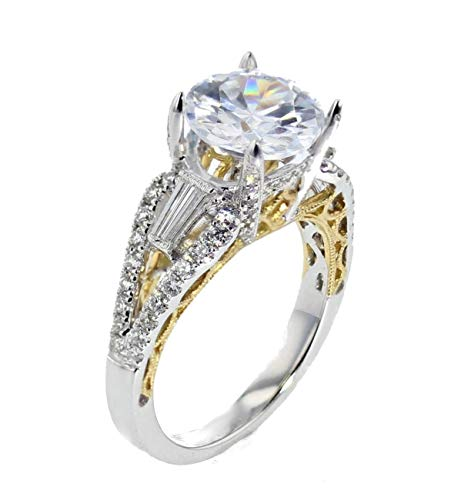 18K White Gold Two tone Semi Mount Engagement Ring Setting Fits 2ct Solitaire Baguette and Round Side Diamonds 0.70ctw