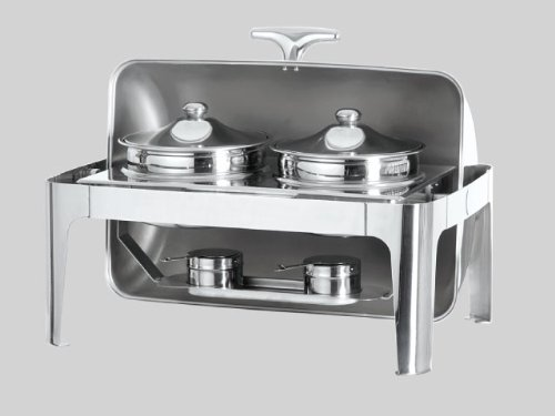 Stainless Steel Double Soup Station Roll Top Buffet Chafing Dish with 2 Soup Bowls, Food Warmer Server