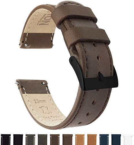 (Barton Quick Release Leather Black Buckle Watch Band Strap - Choose Color - 16mm, 18mm, 20mm, 22mm or 24mm - Saddle Brown)
