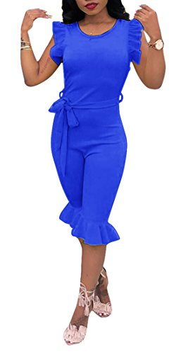 OLUOLIN Jumpsuits for Women Sleeveless One Piece Party Club Jumpsuit Rompers with Belt Blue ()