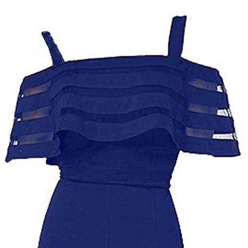 MOSERIAN Women's Jumpsuit Women's Fashion High Waist with Cold Shoulders  Solid Color Wide Leg Jumpsuit Blue