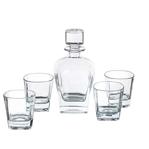 (Trinkware Meriden Whiskey Decanter Set - 5 Piece Barware Set - Includes Decanter And 4 Glasses - Square Wine Bottle With Dof Rocks)