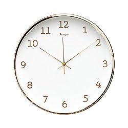 "Luxury Modern 12"" Silent Non-Ticking Wall Clock with Rose Gold Frame (Feminine White)"