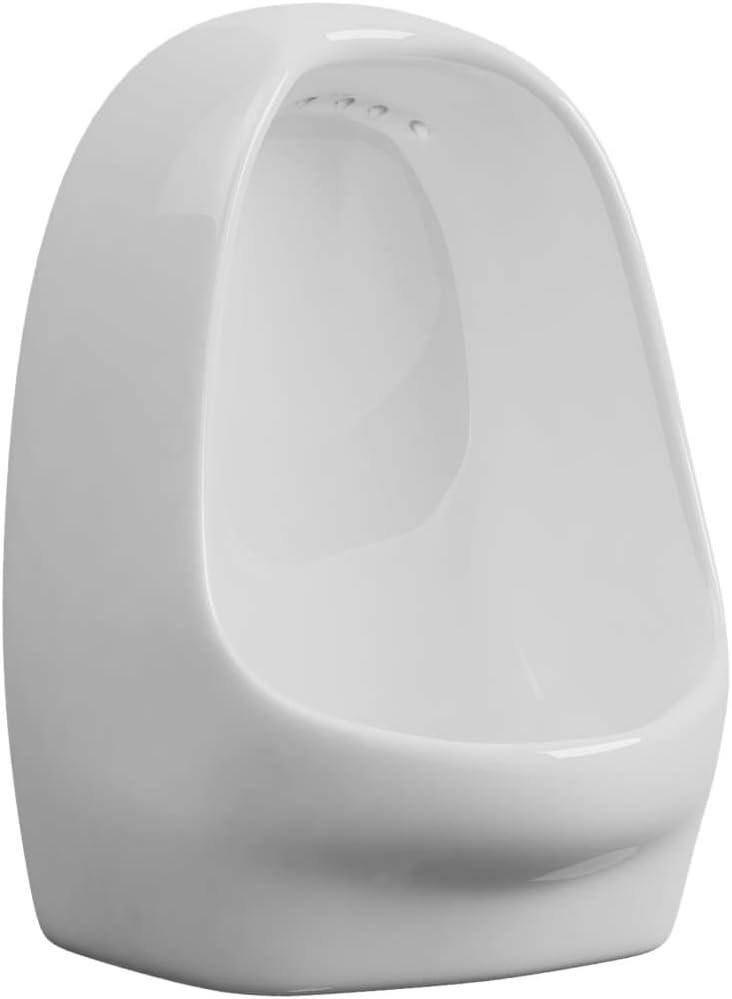 Debout Toilettes Urine Bassin Urinoir Suspendu avec Valve de Chasse deau C/éramique Noir pour Toilettes Festnight Urinoirs Suspendus