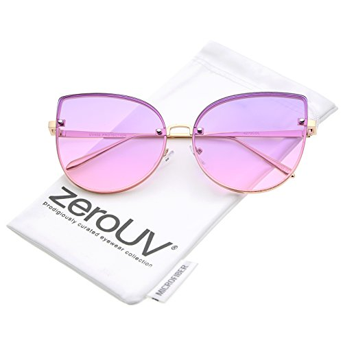 Monster Contact Lenses (zeroUV - Women's Oversize Slim Metal Rimless Gradient Flat Lens Cat Eye Sunglasses 61mm (Gold / Purple-Pink))