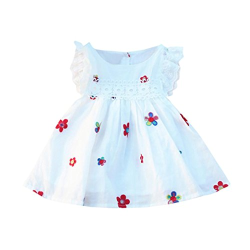 TIFENNY Summer Baby Girls Dresses Floral Strawberry Lace Flying Sleeve Embroidered y Sleeveless Kids Clothing (18M, B)