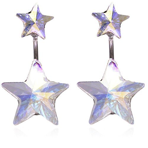 Star or Heart Motif Earring Jackets Made with Swarovski Crystal for Women by BONALUNA