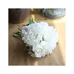 "Artfen 5 Heads Artificial Peony Silk Flower Fake Hydrangea Flowers Home Bridal Wedding Party Festival Bar Decor Approx 7.5"" in Diameter White 66"